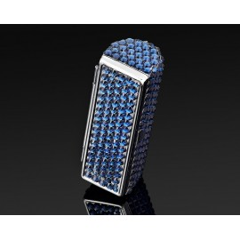 Classic Bling Swarovski Crystal Lipstick Case With Mirror - Navy Blue