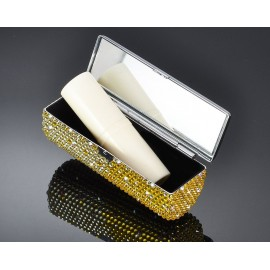 Classic Bling Swarovski Crystal Lipstick Case With Mirror - Yellow