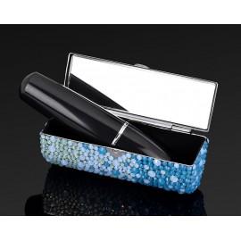 Gradation Swarovski Crystal Lipstick Case With Mirror - Blue